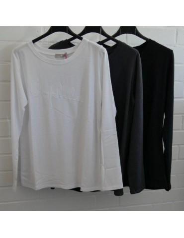 Damen Statement Shirt langarm schwarz black...