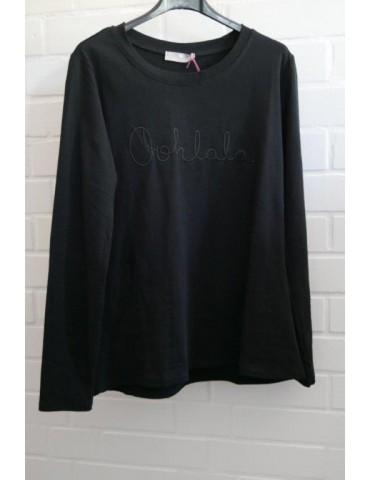 "Damen Statement Shirt langarm schwarz black ""Oohlala"" uni mit Baumwolle Onesize 38 - 42"
