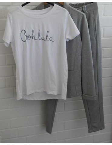 """Damen Shirt kurzarm weiß silber """"Oohlala"""" mit..."""