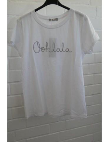 "Damen Shirt kurzarm weiß silber ""Oohlala"" mit Baumwolle Onesize ca. 38 - 42"