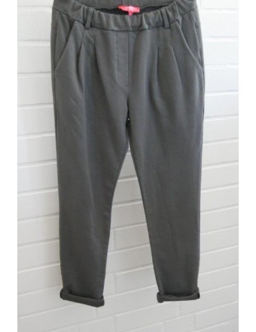 Edle Damen Bundfalten Hose JoggPants anthrazit grau mit Baumwolle