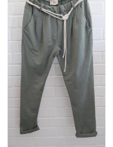 Edle Damen Bundfalten Hose JoggPants oliv khaki grün mit Baumwolle