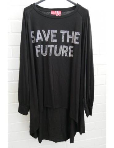"XXXL Big Size T- Shirt langarm schwarz weiß  ""Save the Future"" Baumwolle Onesize 38 - 50"