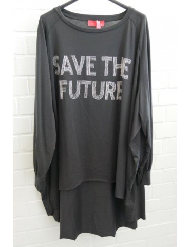 "XXXL Big Size T- Shirt langarm anthrazit weiß  ""Save the Future"" Baumwolle Onesize 38 - 50"