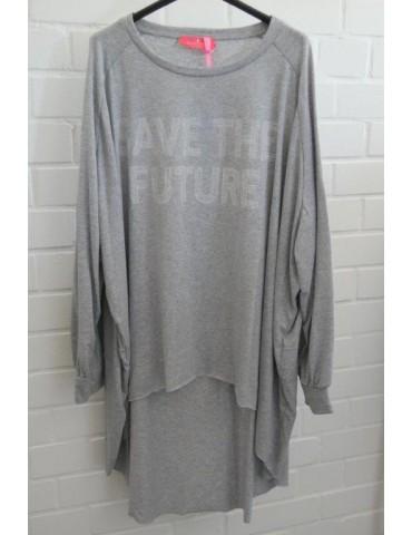 "XXXL Big Size T- Shirt langarm hellgrau weiß  ""Save the Future"" Baumwolle Onesize 38 - 50"