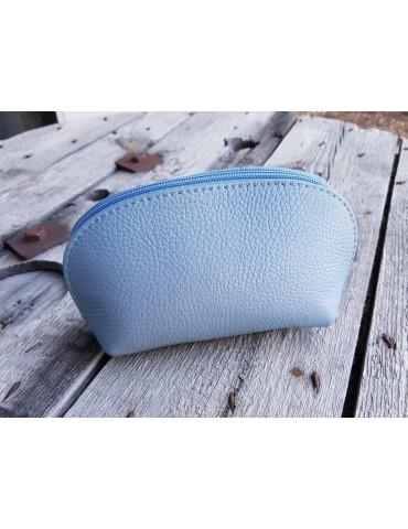 Kosmetiktasche Portemonnaie jeansblau blau echtes Leder Made in Italy