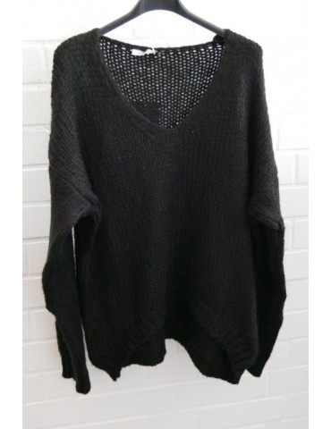 Damen Grob Strick Pullover schwarz black Onesize ca. 38 - 46