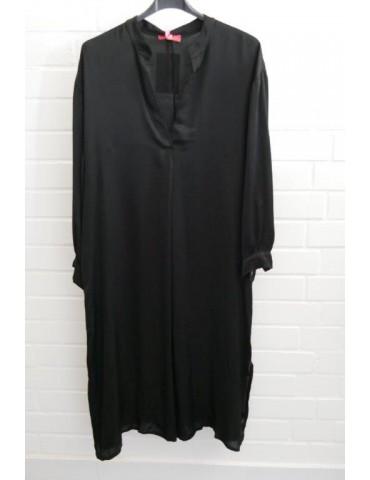 Damen Maxi Kleid schwarz black Satin uni Onesize 38 - 44