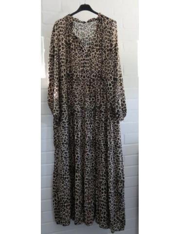 Damen Maxi Kleid A-Form creme beige schwarz Leo Onesize ca. 36 - 42