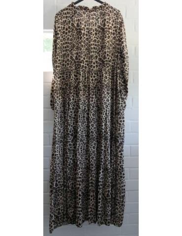 Damen Maxi Kleid A-Form creme beige schwarz Leo...