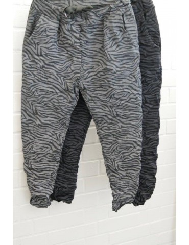 Damen Hose anthrazit schwarz Zebra Animal Print...