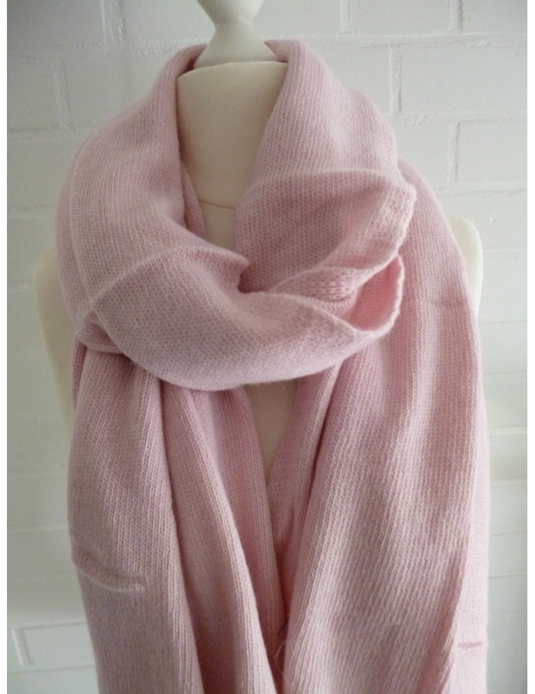 XXL Schal Stola Poncho rose rosa uni mit Kaschmir Made in Italy