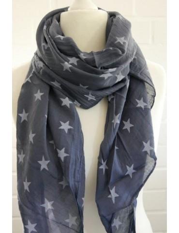 Schal Tuch Loop Made in Italy Seide Baumwolle dunkelblau bleu Sterne