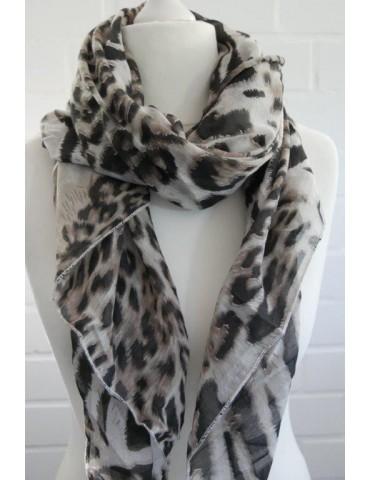 Schal Tuch Loop Made in Italy Seide Baumwolle creme braun schwarz beige Leo