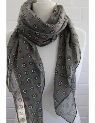 Schal Tuch Loop Made in Italy Seide Baumwolle oliv rot weiß schwarz Kreise