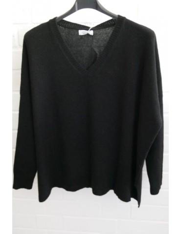 Damen Strick Pullover schwarz black mit Kaschmir Onesize ca. 38 - 48