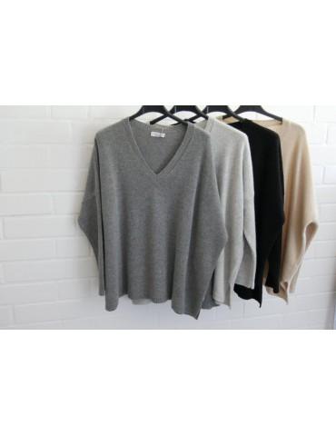 Damen Strick Pullover grau grey mit Kaschmir...