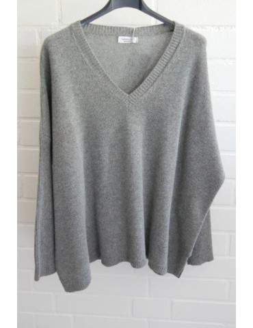 Damen Strick Pullover grau grey mit Kaschmir Onesize ca. 38 - 48