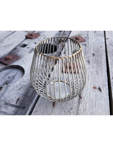 Teelicht Teelichtglas Kerze Metall Gitter altsilber gold