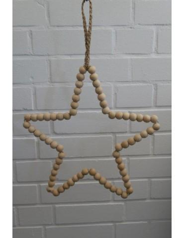 Stern aus Holz Perlen Deko natur Advent Weihnachten