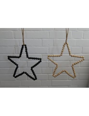 Stern aus Holz Perlen Deko natur Advent...