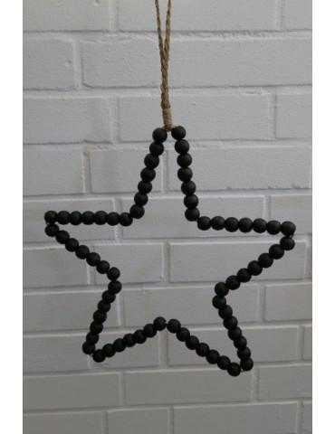 Stern aus Holz Perlen Deko schwarz black Advent Weihnachten
