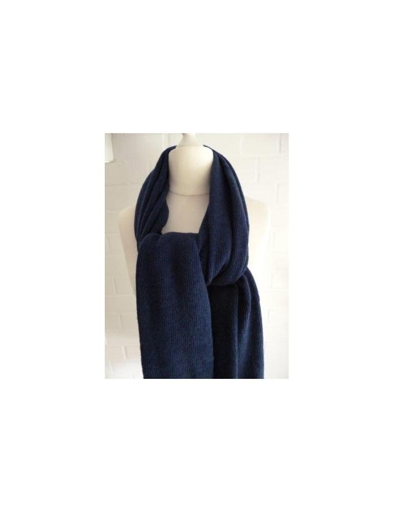 XXL Schal Stola Poncho dunkelblau uni mit Kaschmir Made in Italy