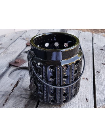 Teelicht Teelichthalter Kerze schwarz black Keramik