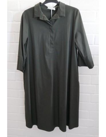 ESViViD Damen Tunika Bluse Kleid khaki oliv grün mit Baumwolle