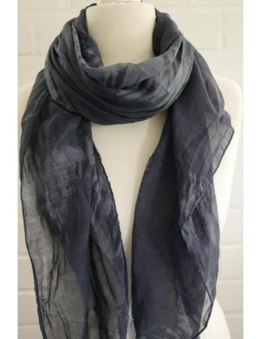 Schal Tuch Loop Made in Italy Seide Baumwolle dunkelblau grau Batik