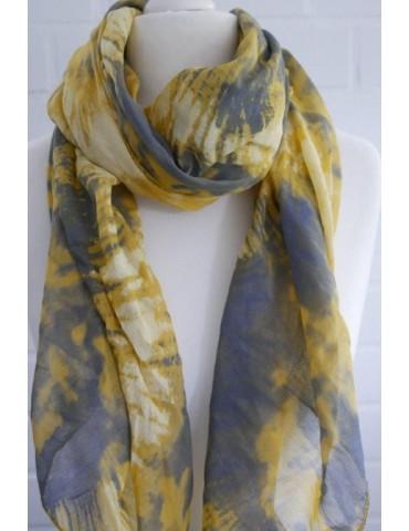 Schal Tuch Loop Made in Italy Seide Baumwolle senf gelb vanille grau Batik