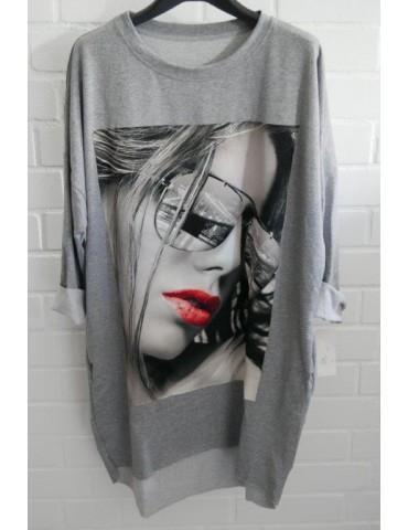 Damen Sweat Shirt langarm hellgrau schwarz grau bunt Sonnenbrille Baumwolle Onesize 38 - 44