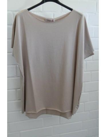 Lindsay Damen Shirt kurzarm beige sand mit Baumwolle Onesize 38 - 44
