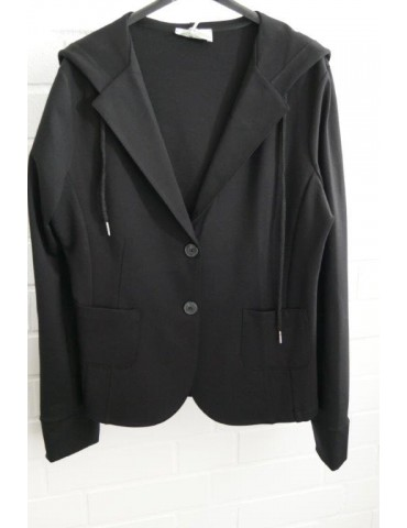 Esvivid Bequemer Sportlicher Jersey Blazer Kapuze Bündchen tailliert schwarz black uni
