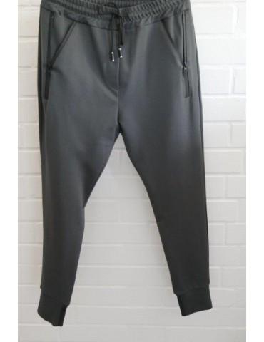 ESViViD Bequeme Sportliche Damen Hose anthrazit grau Reißverschluss Bündchen uni 7121