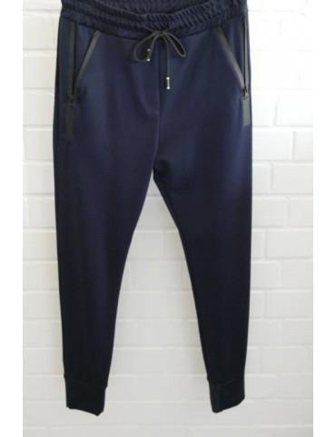 ESViViD Bequeme Sportliche Damen Hose dunkelblau schwarz Reißverschluss Bündchen uni 7121