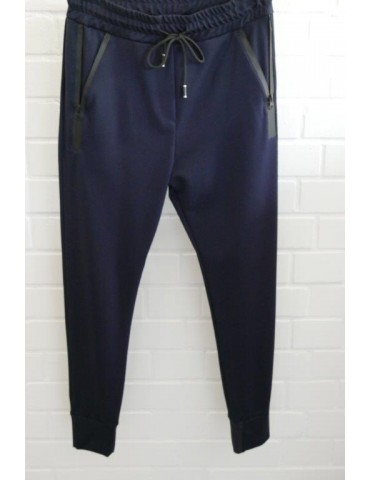 ESViViD Bequeme Sportliche Damen Hose dunkelblau schwarz Reißverschluss Bündchen uni