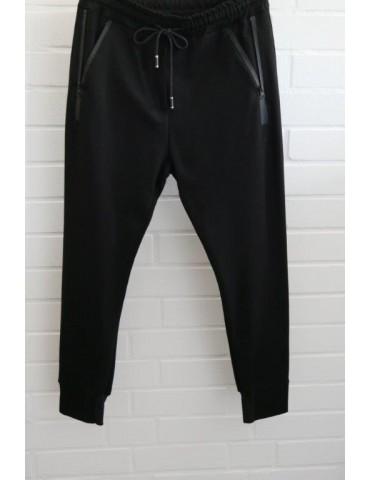 ESViViD Bequeme Sportliche Damen Hose schwarz black Reißverschluss Attrappe uni