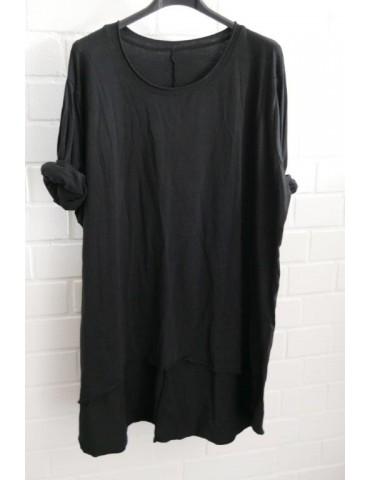 Damen Shirt langarm schwarz black mit Baumwolle Onesize 38 - 42