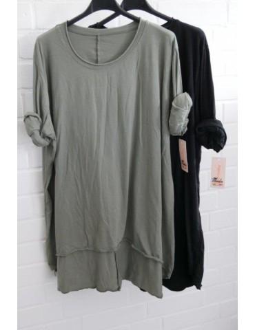 Damen Shirt langarm khaki oliv grün uni mit...