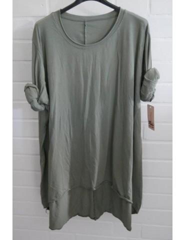 Damen Shirt langarm khaki oliv grün uni mit Baumwolle Onesize 38 - 46