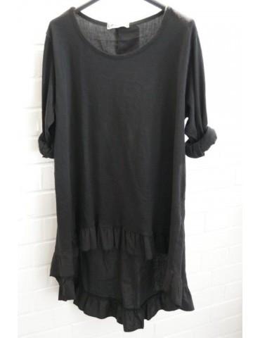 Damen Shirt Rüschen langarm schwarz black uni mit Baumwolle Onesize 38 - 42