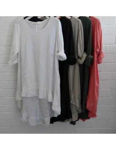 Damen Shirt Rüschen langarm weiß white uni mit...