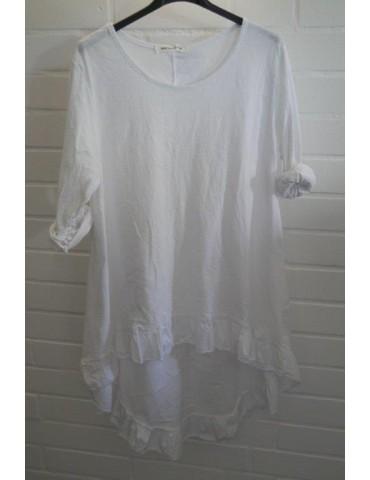 Damen Shirt Rüschen langarm weiß white uni mit Baumwolle Onesize 38 - 42