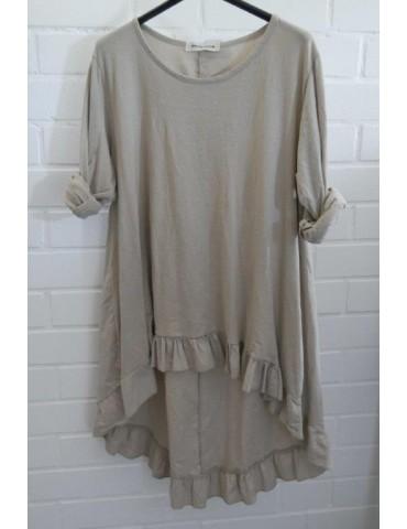 Damen Shirt Rüschen langarm beige sand uni mit Baumwolle Onesize 38 - 42