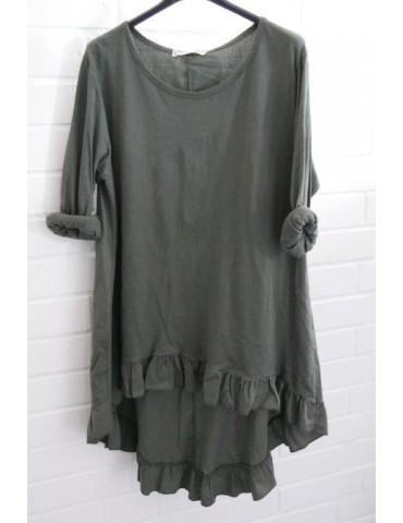 Damen Shirt Rüschen langarm khaki oliv grün uni mit Baumwolle Onesize 38 - 42