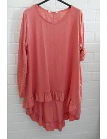 Damen Shirt Rüschen langarm lachs koralle uni mit Baumwolle Onesize 38 - 42