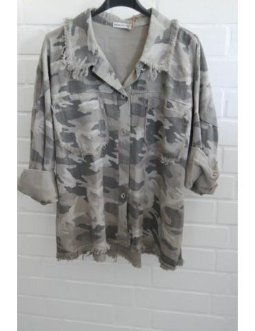 Jeansjacke Jeanshemd Damen Hemdbluse taupe beige grau bunt Camouflage Onesize 38 - 44