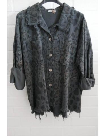Jeansjacke Jeanshemd Damen Hemdbluse anthrazit grau schwarz beige Leo Onesize 38 - 44