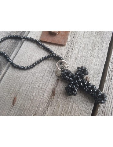 Modeschmuck Kette Halskette lang schwarz Kristallperlen Kreuz Kunststoff Metall
